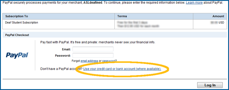 PayPal: Pay with a credit card